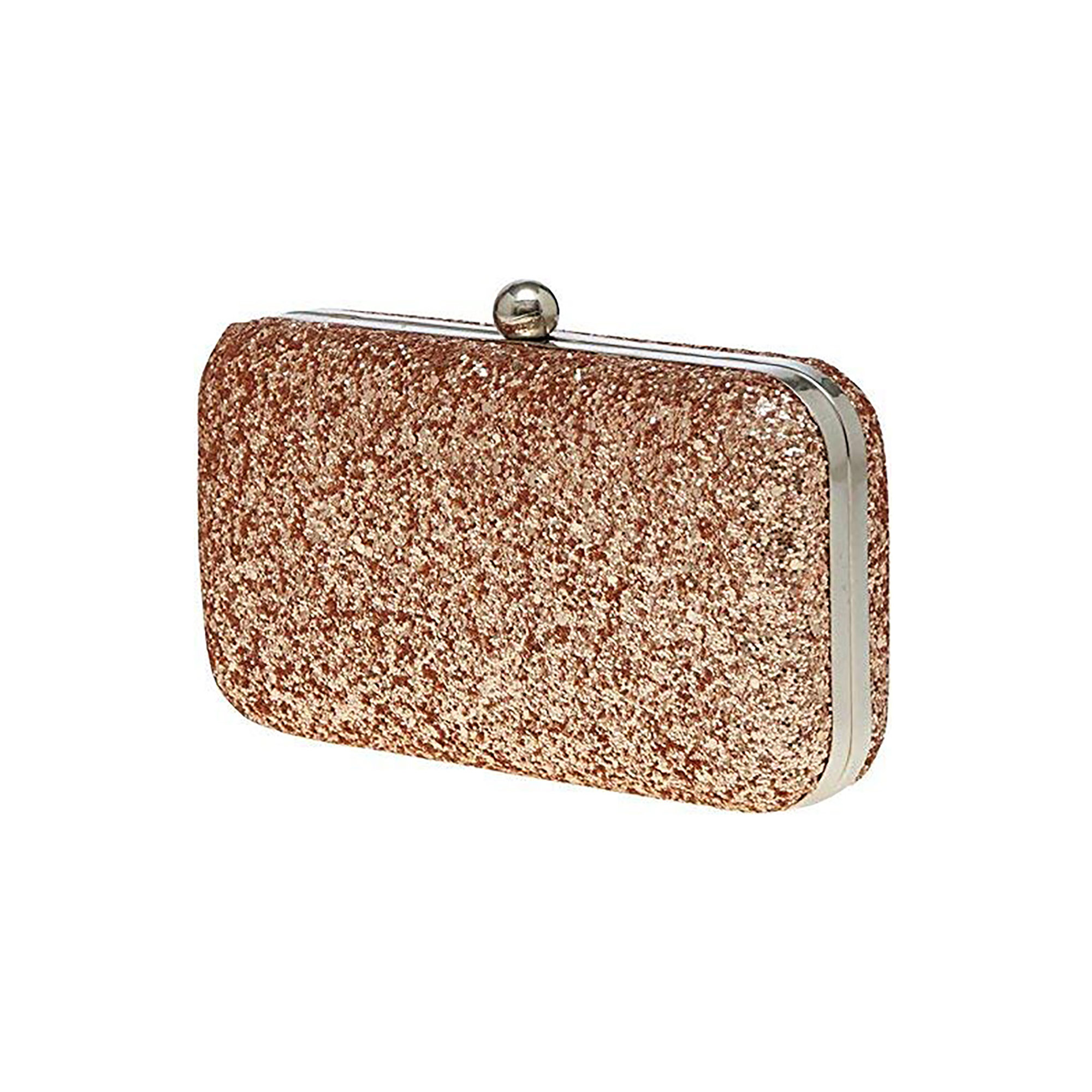 Entrancing Rose Gold Colored Handcrafted Partywear Embroidered Clutch