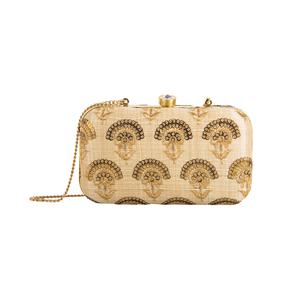Groovy Beige Colored Handcrafted Partywear Embroidered Clutch