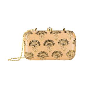Prominent Beige Colored Handcrafted Partywear Embroidered Clutch