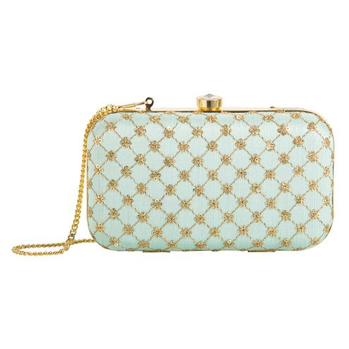 Innovative Sky blue Colored Handcrafted Partywear Embroidered Clutch
