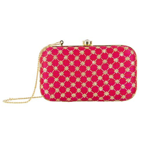Eye-catching Hot Pink Colored Handcrafted Partywear Embroidered Clutch