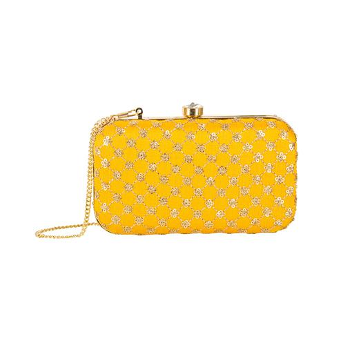 Fantastic Yellow Colored Handcrafted Partywear Embroidered Clutch