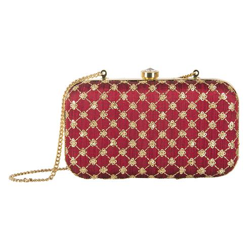 Amazing Maroon Colored Handcrafted Partywear Embroidered Clutch