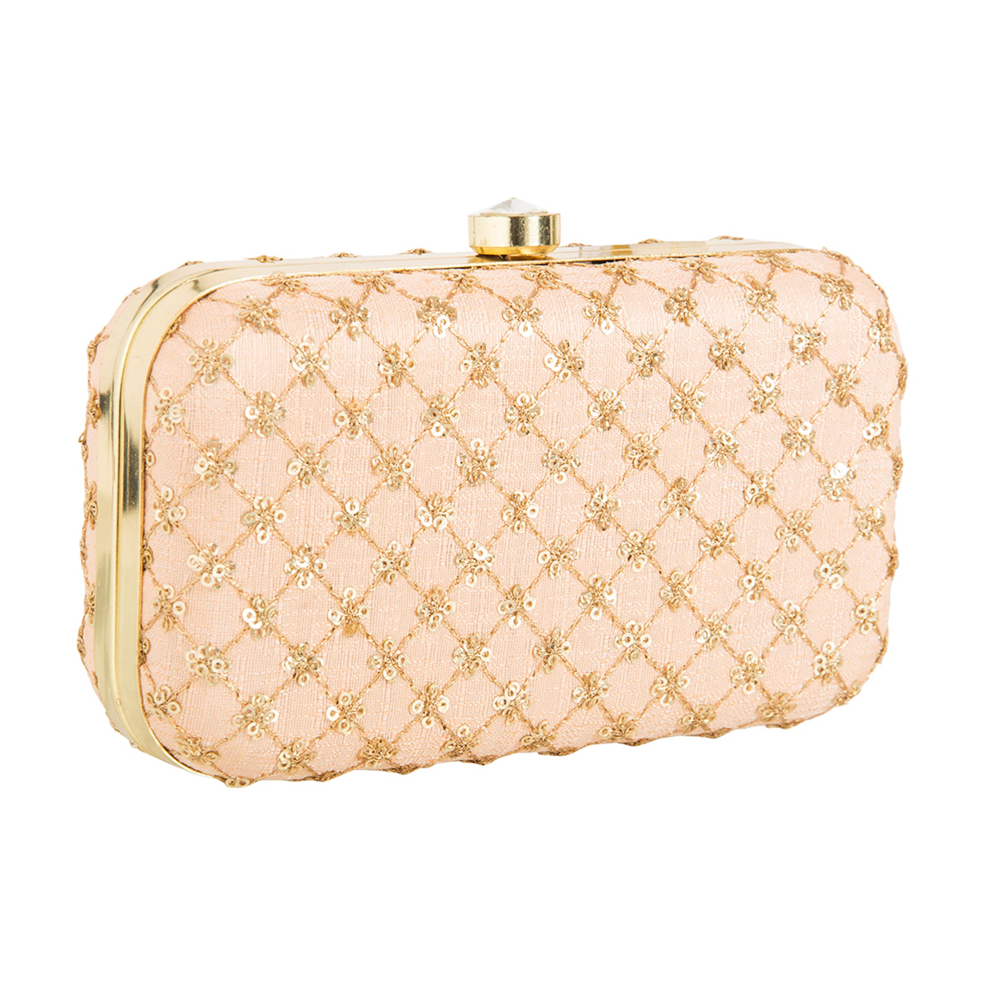 Blissful Peach Colored Handcrafted Partywear Embroidered Clutch