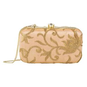 Ideal Peach Colored Handcrafted Partywear Embroidered Clutch