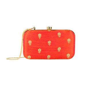 Imposing Red Colored Handcrafted Partywear Embroidered Clutch