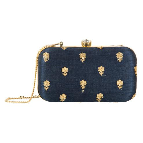 Majesty Navy Blue Colored Handcrafted Partywear Embroidered Clutch