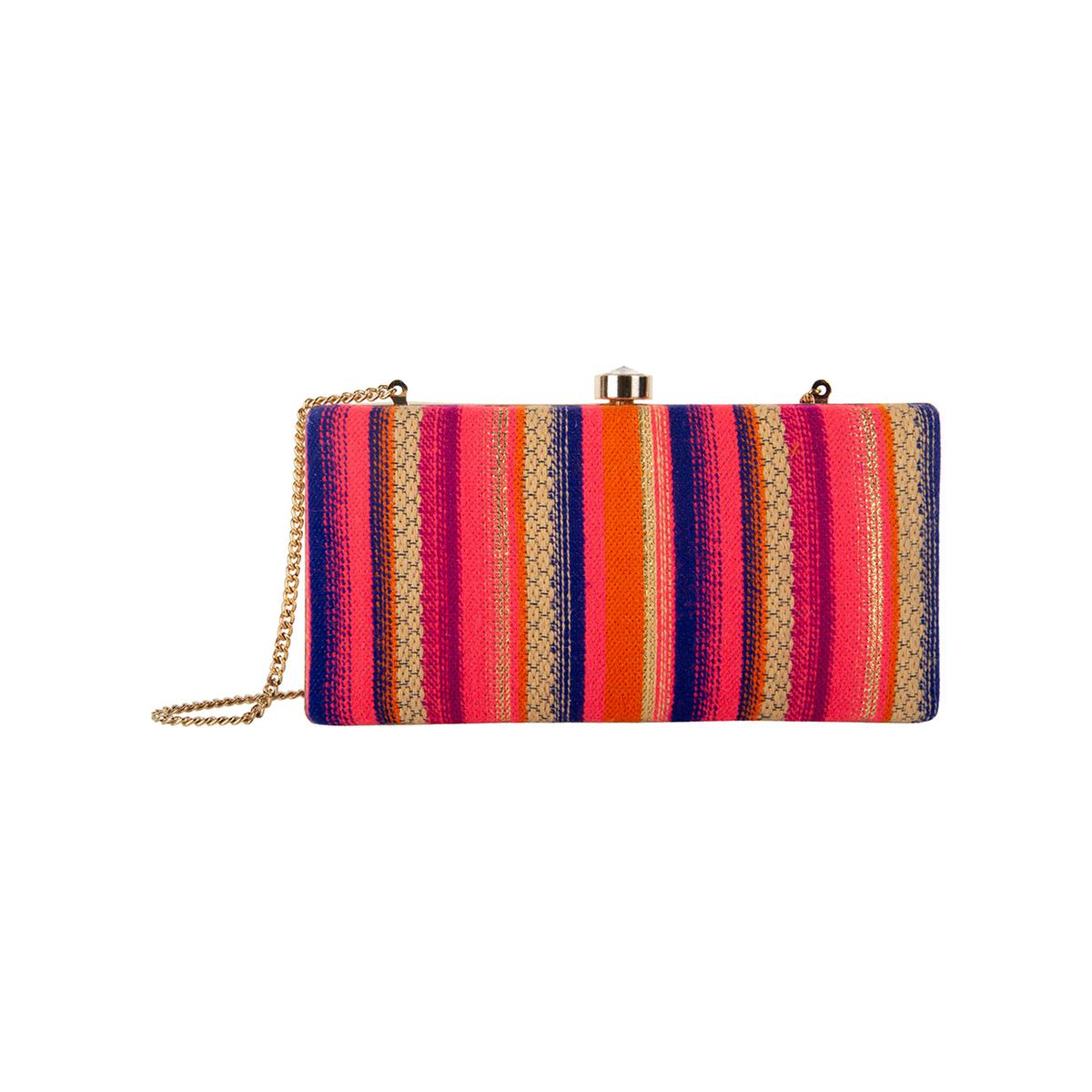Pleasance Multi Colored Handcrafted Partywear Embroidered Clutch