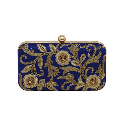 Breathtaking Navy Blue Colored Handcrafted Partywear Embroidered Clutch