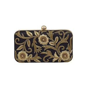 Ravishing Black Colored Handcrafted Partywear Embroidered Clutch
