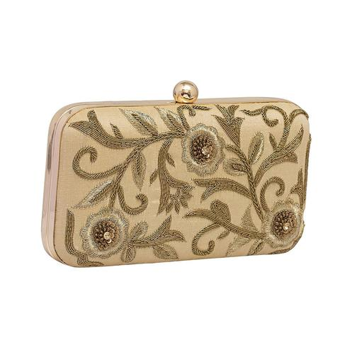 Staring Beige Colored Handcrafted Partywear Embroidered Clutch