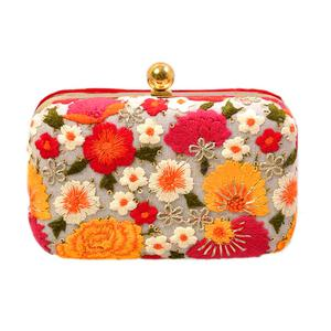 Surpassing Multi Colored Handcrafted Partywear Embroidered Clutch