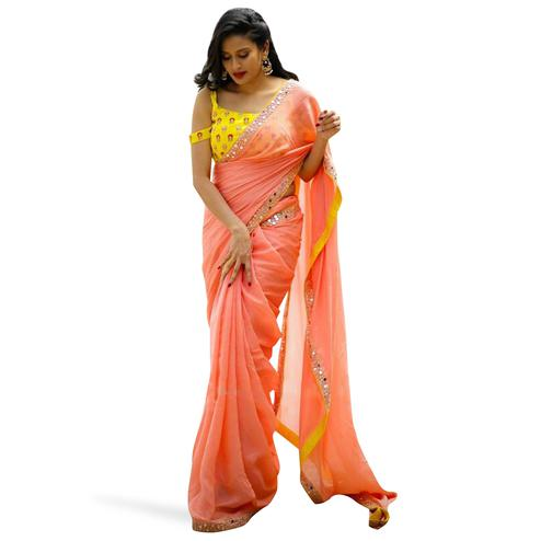 Charming Pink Colored Partywear Embroidered Cotton Net Saree
