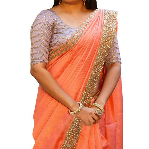 Amazing Peach Colored Partywear Embroidered Cotton Saree