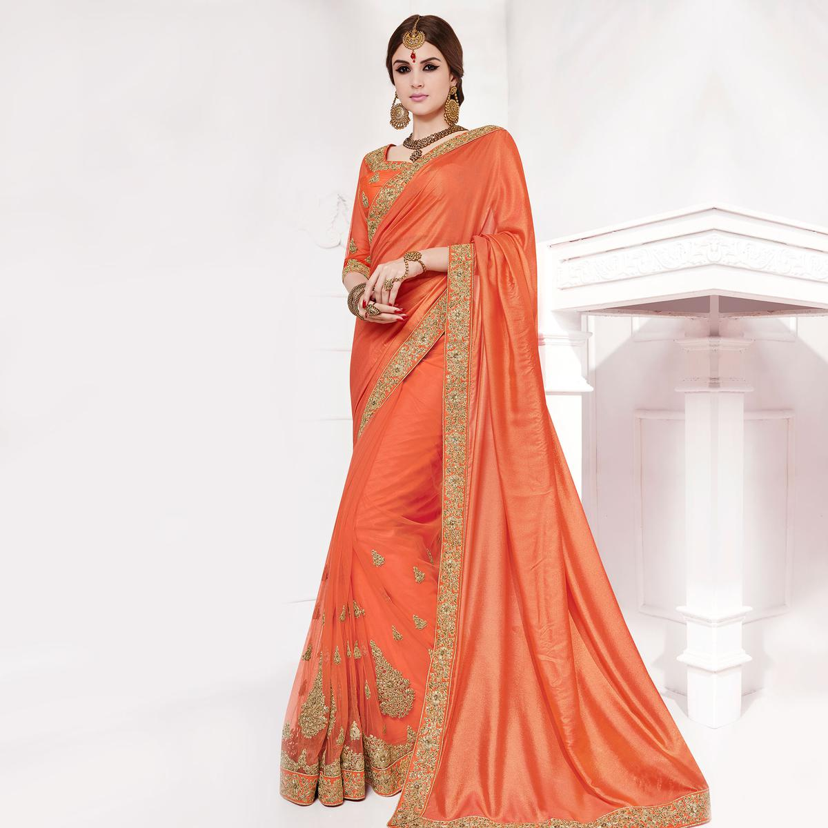 Orange Embroidered Work Designer Saree