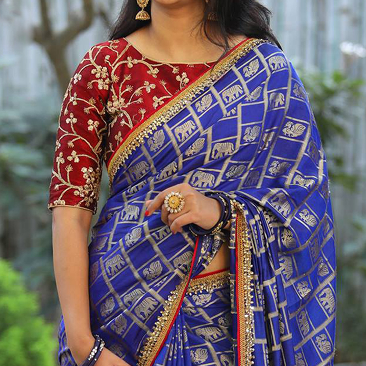 Blooming Blue Colored Partywear Embroidered Jacquard Silk Saree