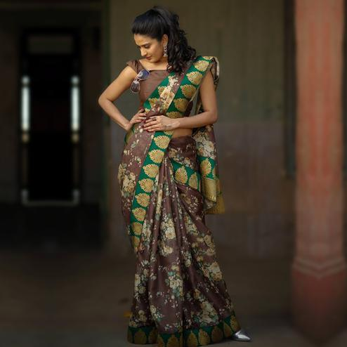 Desiring Brown Colored Partywear Printed Manipuri Silk Saree