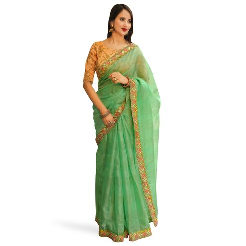 1d0df438c5 Refreshing Pastel Green Colored Partywear Embroidered Manipuri Silk Saree