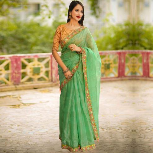 Refreshing Pastel Green Colored Partywear Embroidered Manipuri Silk Saree