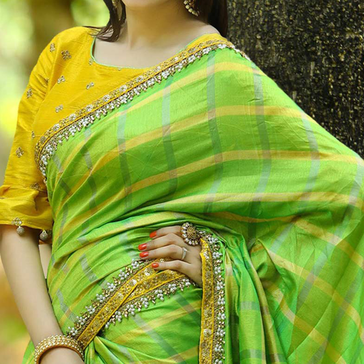 Impressive Green Colored Partywear Printed Manipuri Silk Saree
