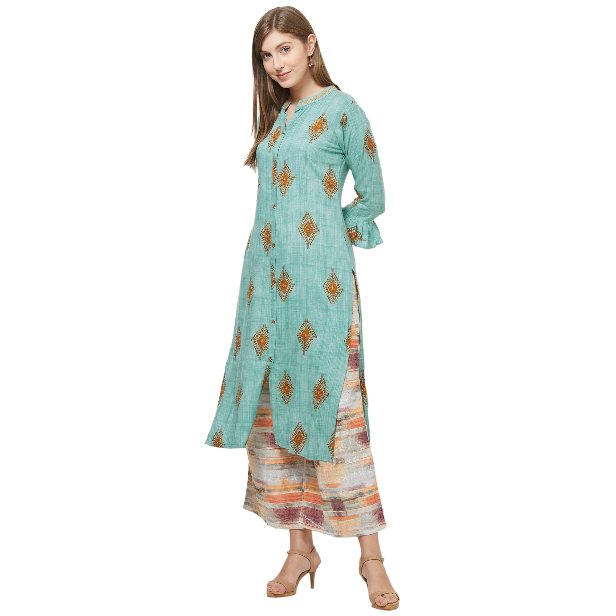 Lovely Gray Colored Casual Printed Rayon Kurti