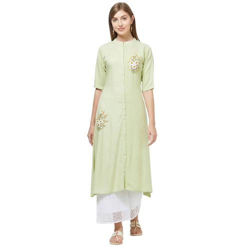Amazing Lemon Green Colored Casual Embroidered Rayon Kurti