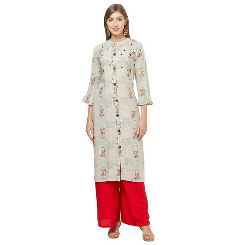 Beautiful Beige Colored Casual Printed Rayon Kurti