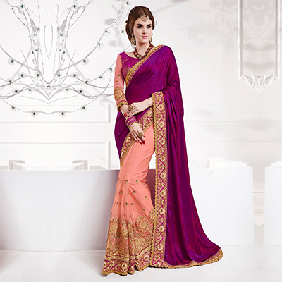 Violet - Pink Two Tone Soft Silk Saree
