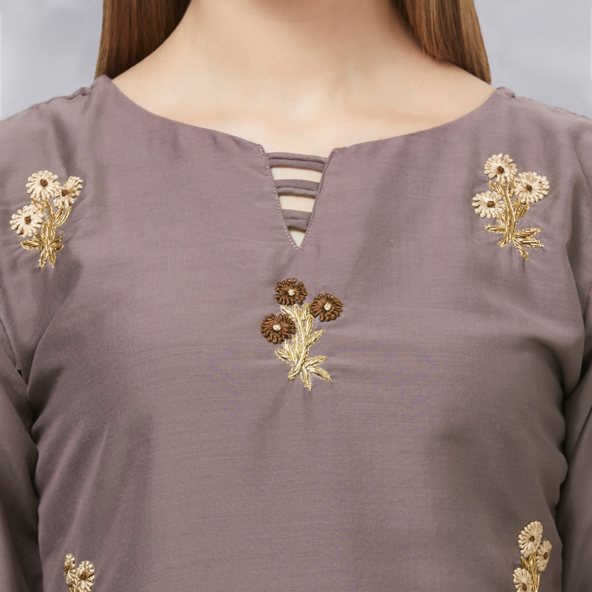 Gleaming Gray Colored Casual Embroidered Cotton Kurti
