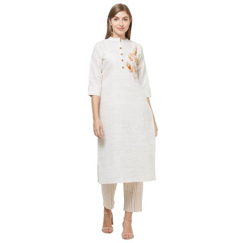 Admiring Off-White Colored Casual Embroidered Cotton Kurti-Bottom Set