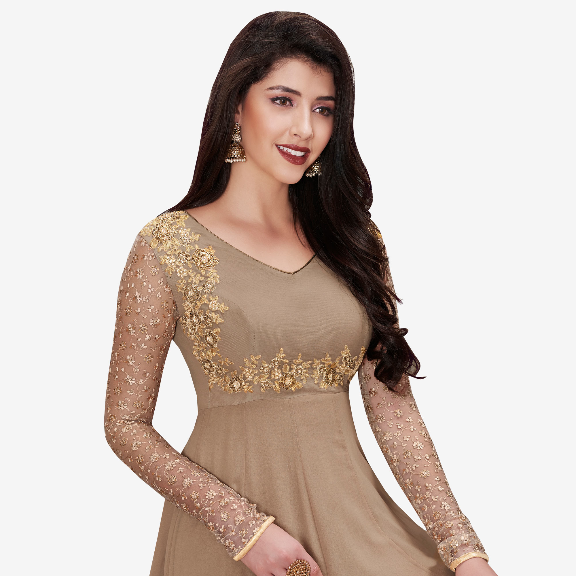 Attractive Beige Colored Partywear Embroidered Georgette Anarkali Suit