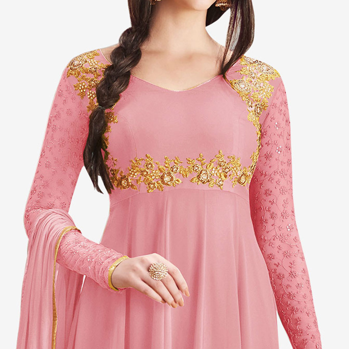 Graceful Pink Colored Partywear Embroidered Georgette Anarkali Suit