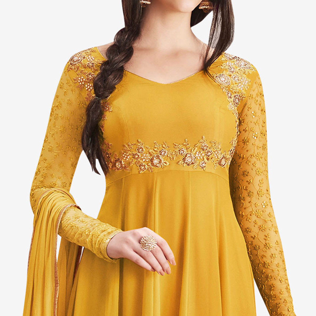 Blooming Mustard Yellow Colored Partywear Embroidered Georgette Anarkali Suit