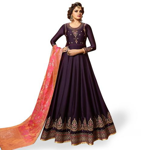 Magnetic Dark Purple Colored Partywear Embroidered Satin Georgette Anarkali Suit