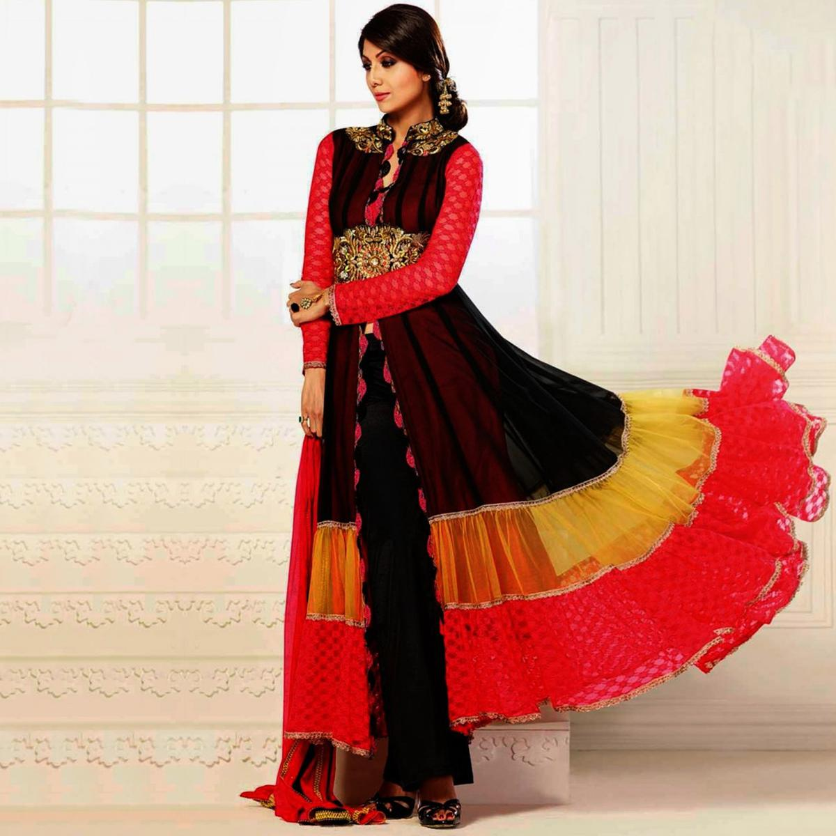 Multi Color Embroidered Work Pure Georgette Anarkali