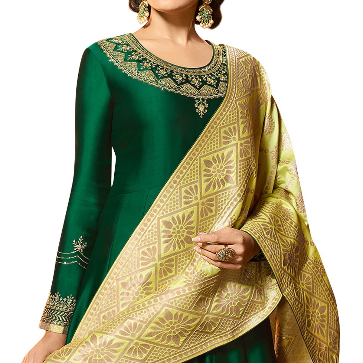 Hypnotic Green Colored Partywear Embroidered Satin Georgette Anarkali Suit