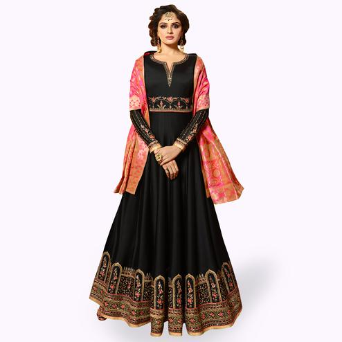 Flattering Black Colored Partywear Embroidered Satin Georgette Anarkali Suit