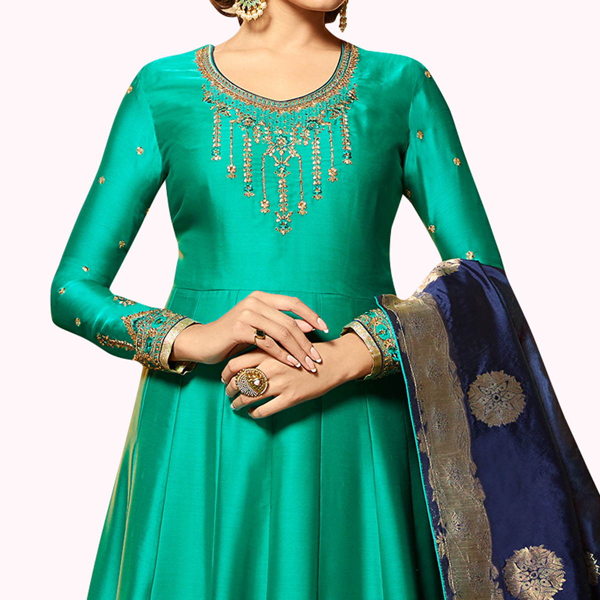 Excellent Turquoise Green Colored Partywear Embroidered Satin Georgette Anarkali Suit