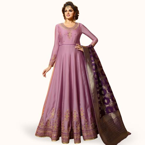 Preferable Light Purple Colored Partywear Embroidered Satin Georgette Anarkali Suit