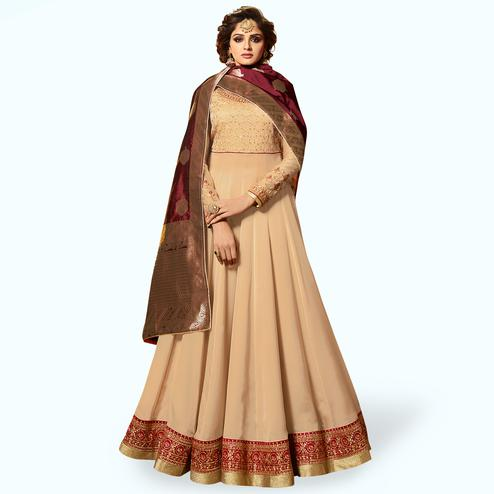 Marvellous Beige Colored Partywear Embroidered Satin Georgette Anarkali Suit