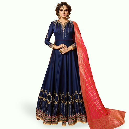 Energetic Navy Blue Colored Partywear Embroidered Satin Georgette Anarkali Suit