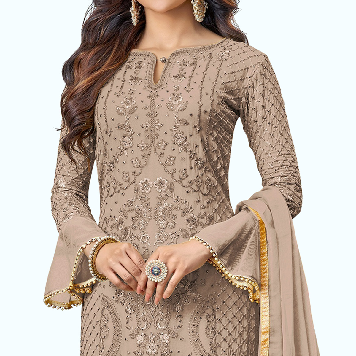 Fantastic Beige Colored Partywear Embroidered Pant Style Suit