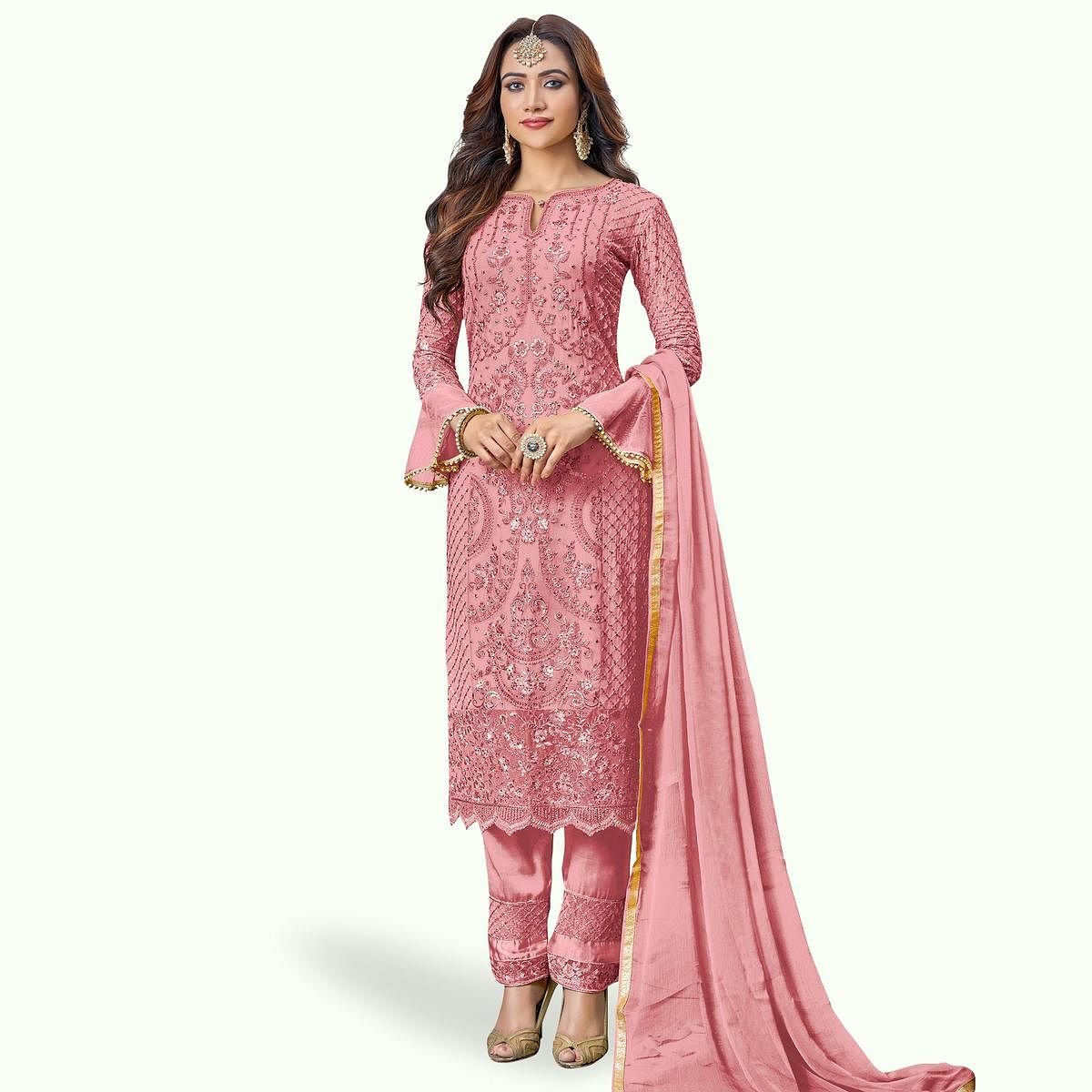 Stylish Pink Colored Partywear Embroidered Pant Style Suit