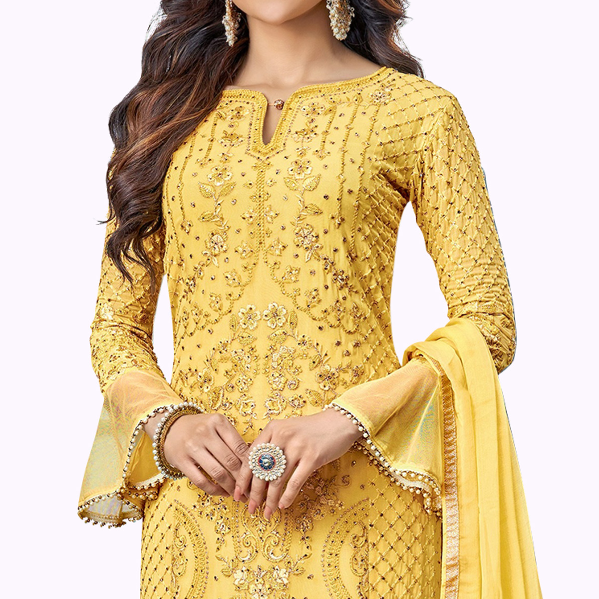 Marvellous Yellow Colored Partywear Embroidered Pant Style Suit