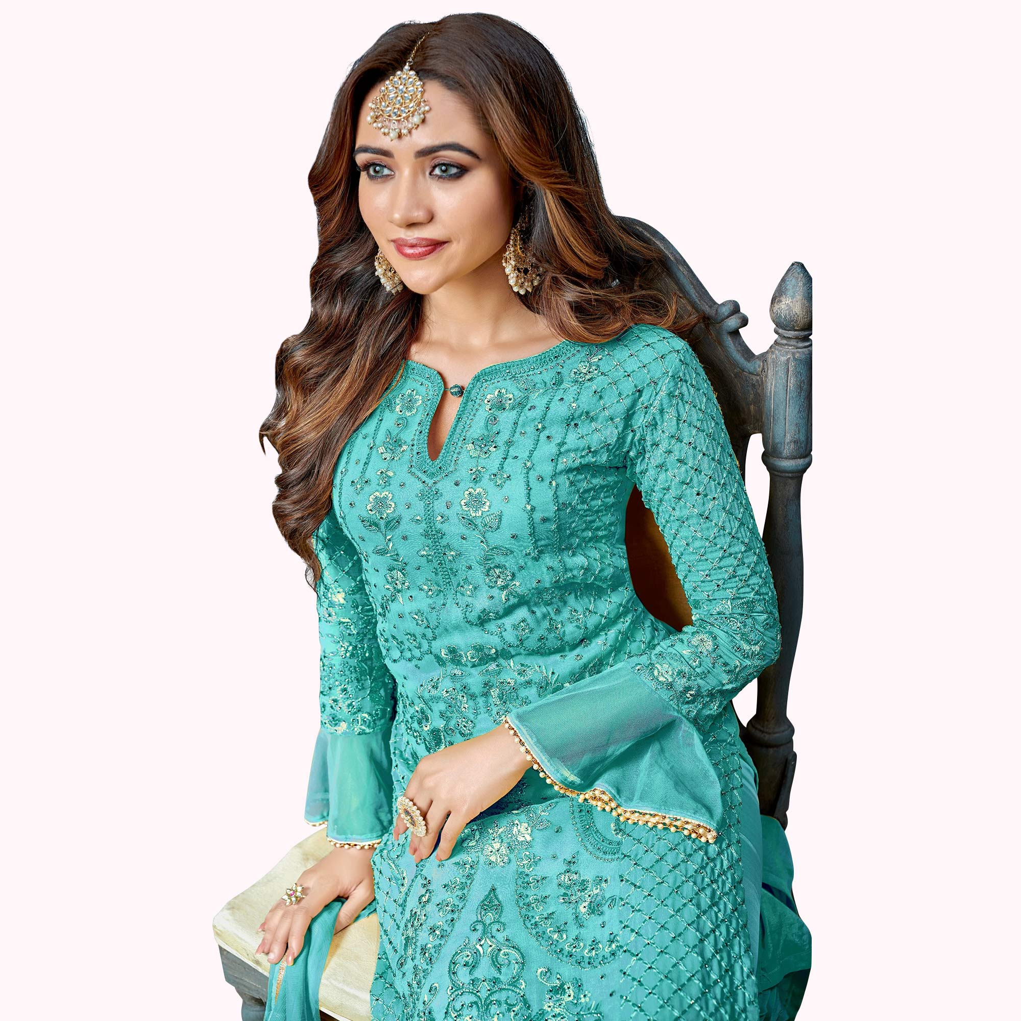 Stunning Sky Blue Colored Partywear Embroidered Pant Style Suit