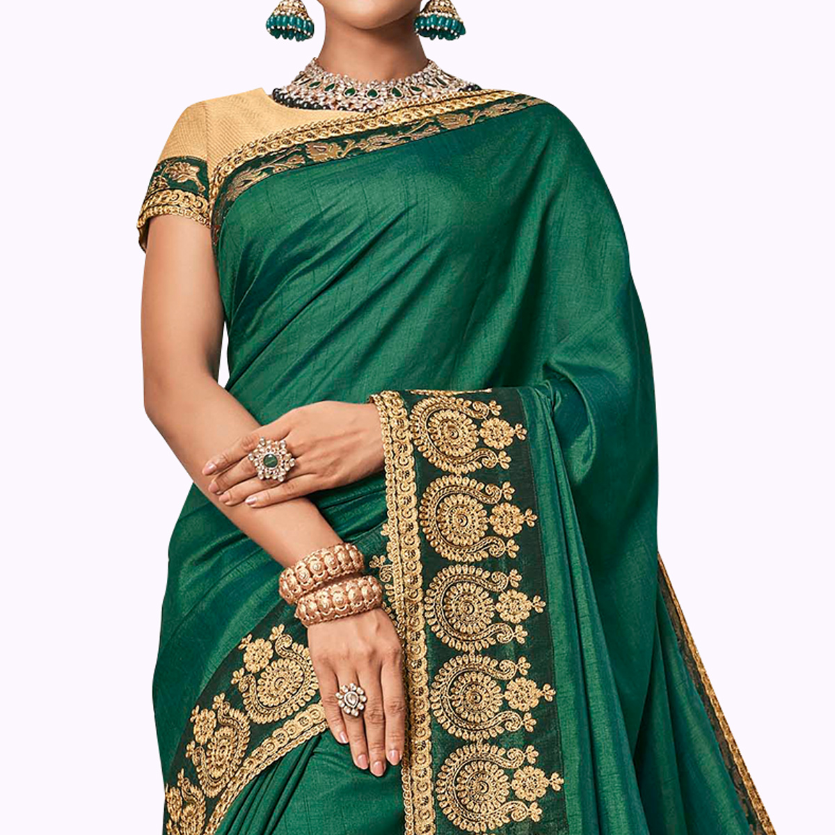 Energetic Green Colored Partywear Embroidered Raw Silk Saree