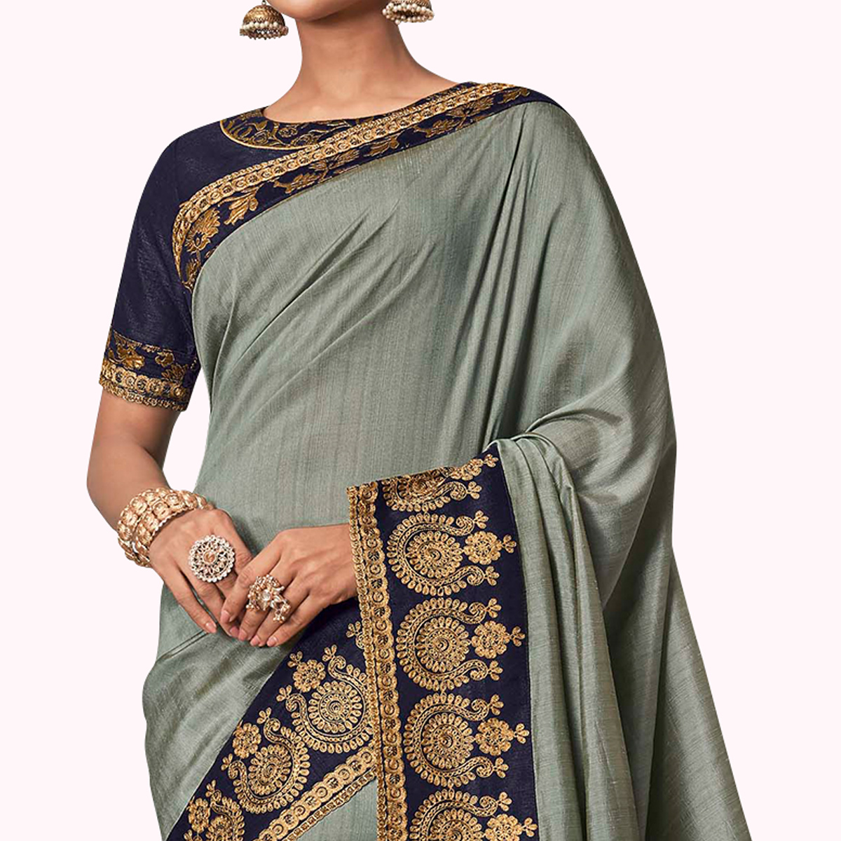 Glowing Gray Colored Partywear Embroidered Raw Silk Saree
