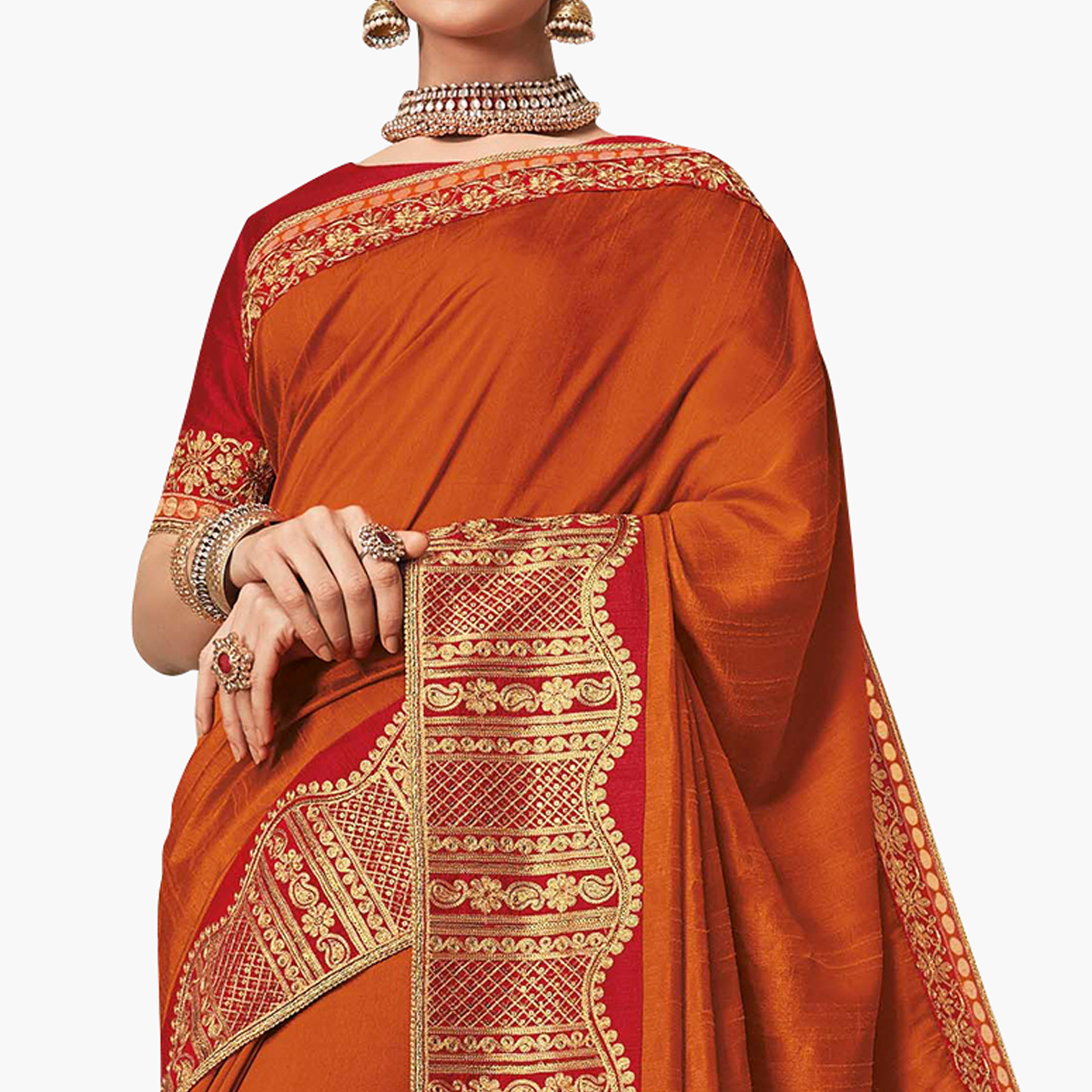 Exceptional Orange Colored Partywear Embroidered Raw Silk Saree