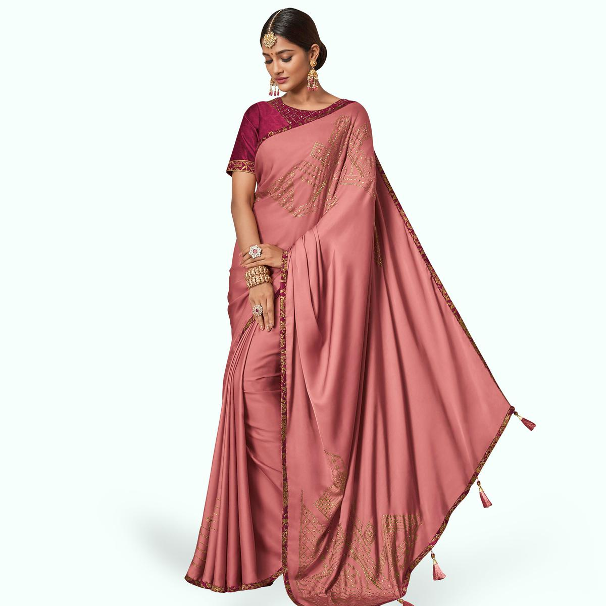 Mesmeric Pink Colored Partywear Embroidered Raw Silk Saree