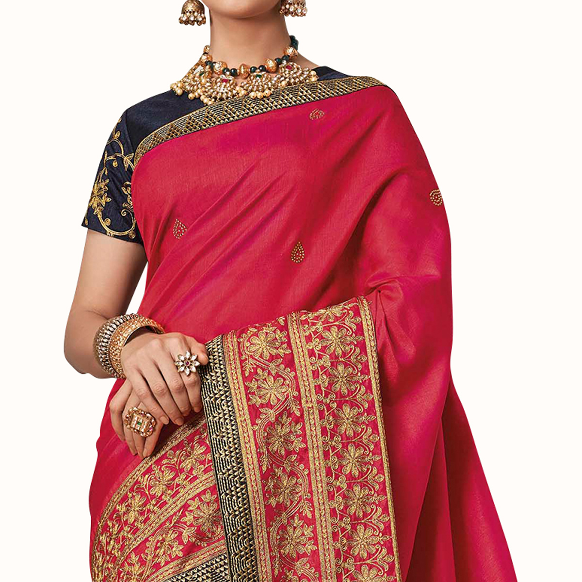 Demanding Pink Colored Partywear Embroidered Raw Silk Saree